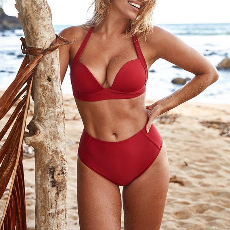 HTB1K wlapooBKNjSZPhq6A2CXXar - Halter high waist bikini women 2018 Push up plunge swimsuit solid sexy vintage swimwear female Sport bathing suit red bikini set