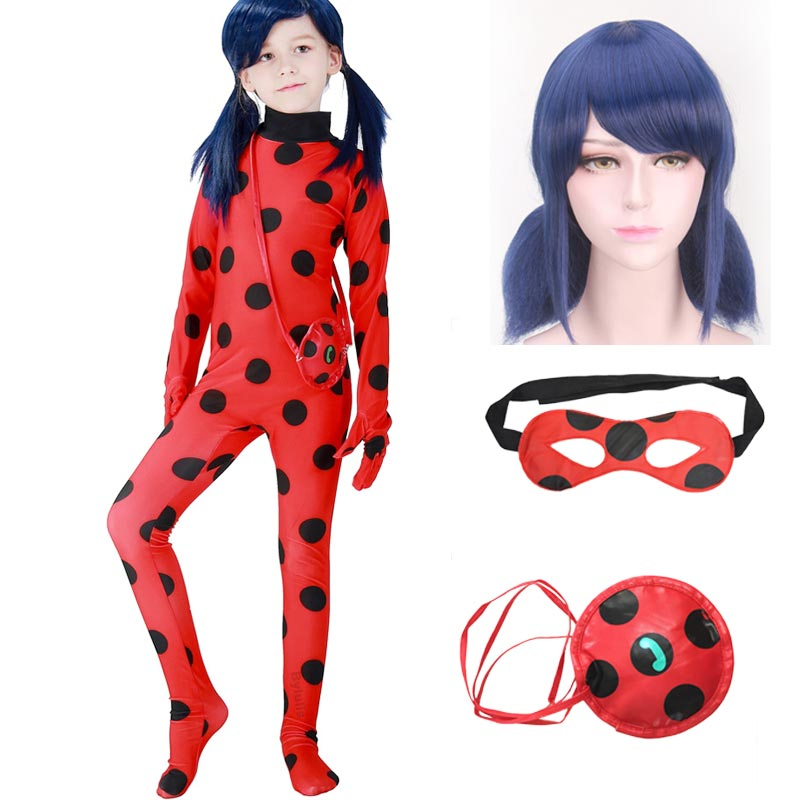 Child Mir Ladybug Girl Costume with Wig Telphone Bag Blinder for Kid Girl Adult Woman Lady Bug Carnival Party Cosplay Costume