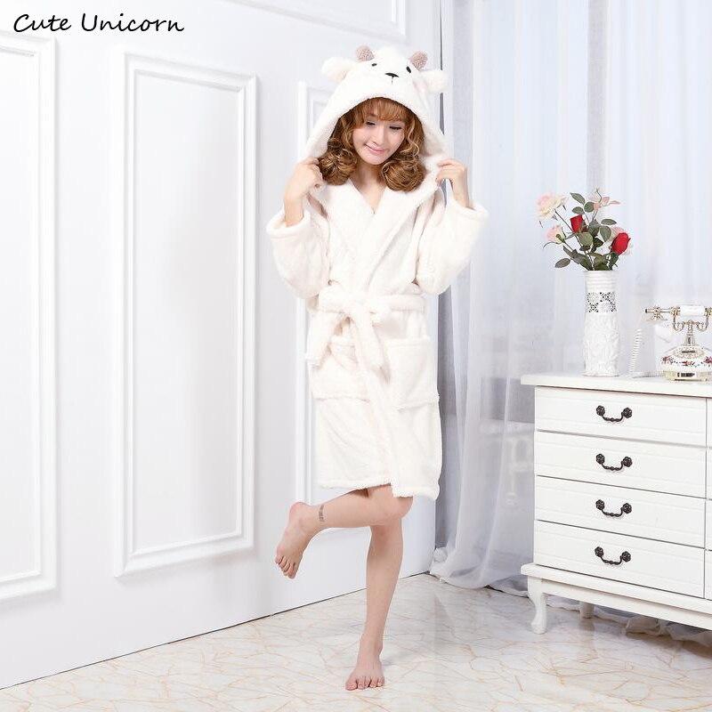 Cute Unicorn Unisex White Sheep Nightgown Cartoon Robes Men Women Gown Long Sexy Robe Animal Sleep Robe Femme Homewear Bathrobe