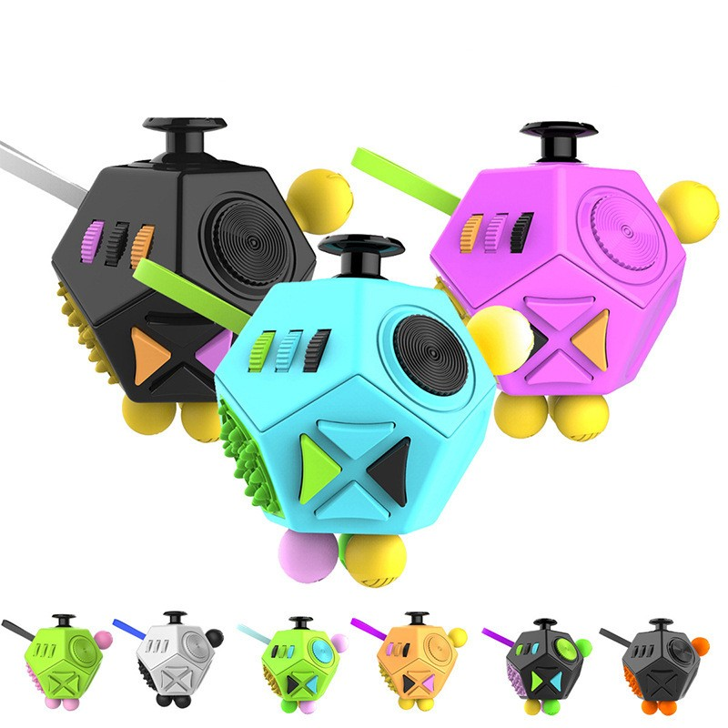 12 Side Magic Cube Generation 2 Relieve Stress EDC Desktop Focus Toy for Kids Adults Decompression Toy Kids Learning Fidget Cube