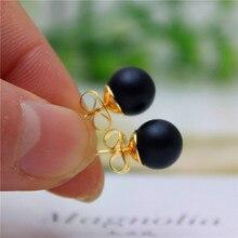 Nova marca de Moda jóias simples contas de Natal brincos declaração do parafuso prisioneiro para as mulheres banhado a ouro de presente preta frete grátis(China (Mainland))