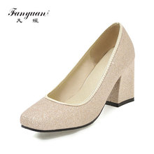 fanyuan Women's Chunky High Heels Square Toe Less Platform Office Shoes Woman Party Wedding Pumps Big Size 32-43 new sale small and big size 32 46 spring autumn women pumps square toe woman high heels wedding party shoes high quality 7602