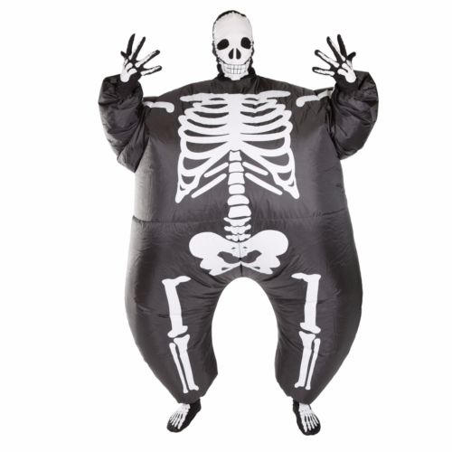 Grim Reaper Scary Halloween Skeleton Skull Inflatable Costumes Illusion Suit Blow Up Suit Horror Skeleton 3D