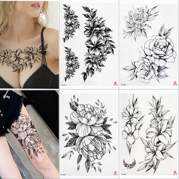 2019 New Waterproof Temporary Tattoo Sticker Old School Rose Pattern Tattoo Water Transfer Tattoo Flash Tattoo 1