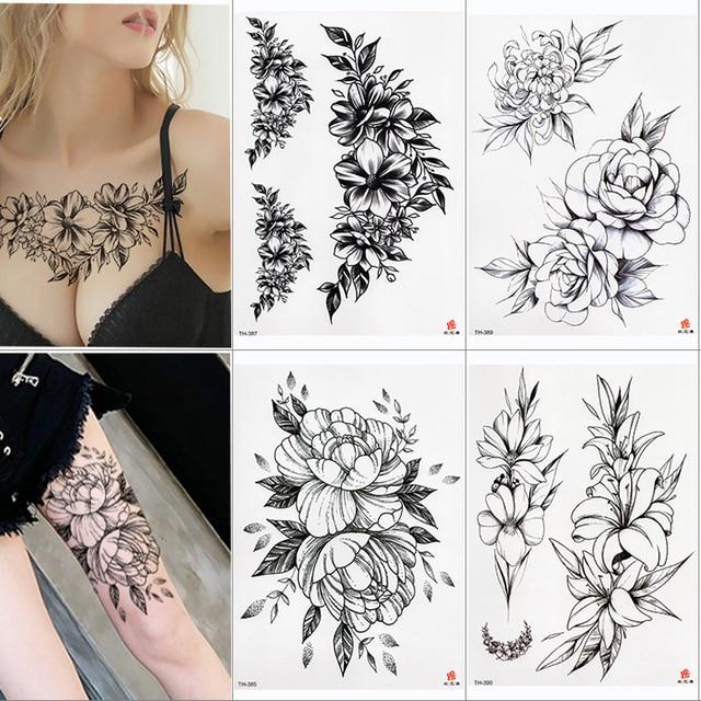 Rose Peony Flower Girls Temporary Tattoos For Women Waterproof Black Tattoo Stickers 3D Blossom Lady Shoulder DIY Tatoos 1