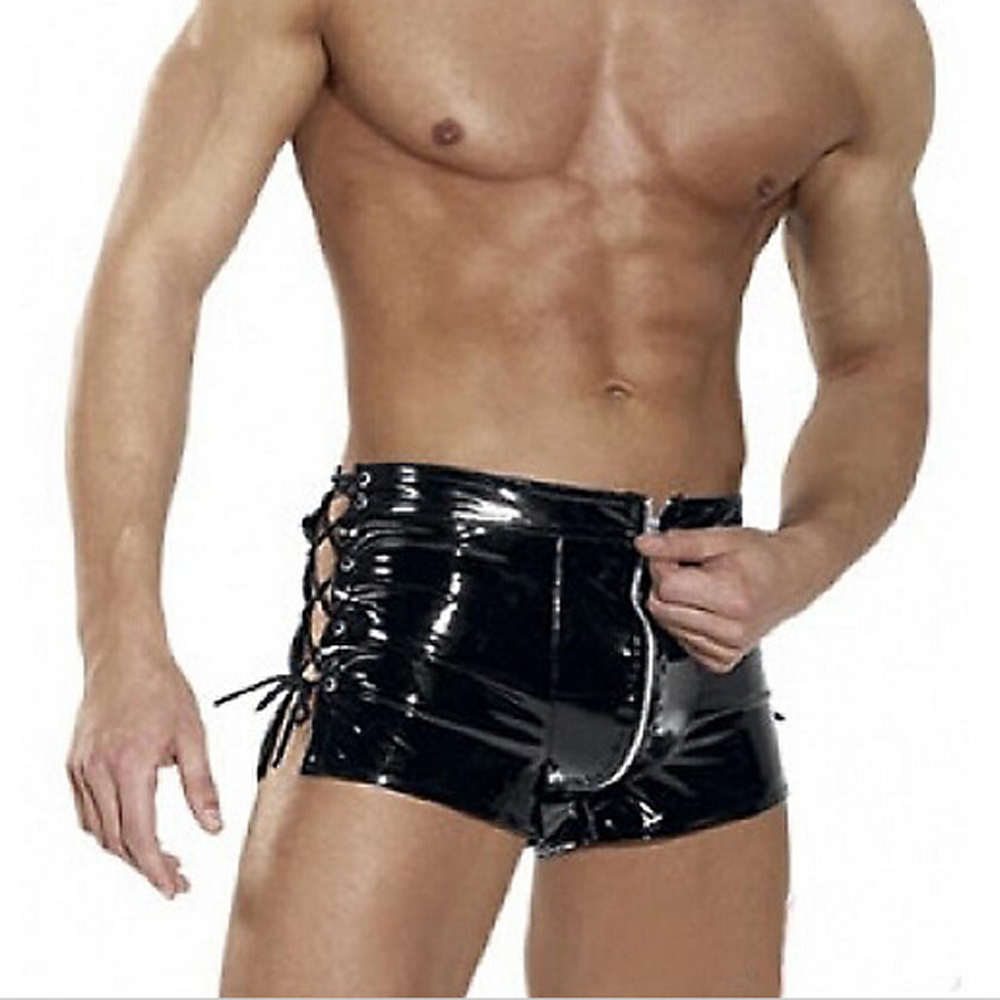 Sexy Men Wild PVC Faux Leather Zipper Open Short Erotic Jockstrap Bandage Pants Wetlook Clubwear Jockstrap Fetish Gay Wear FX22