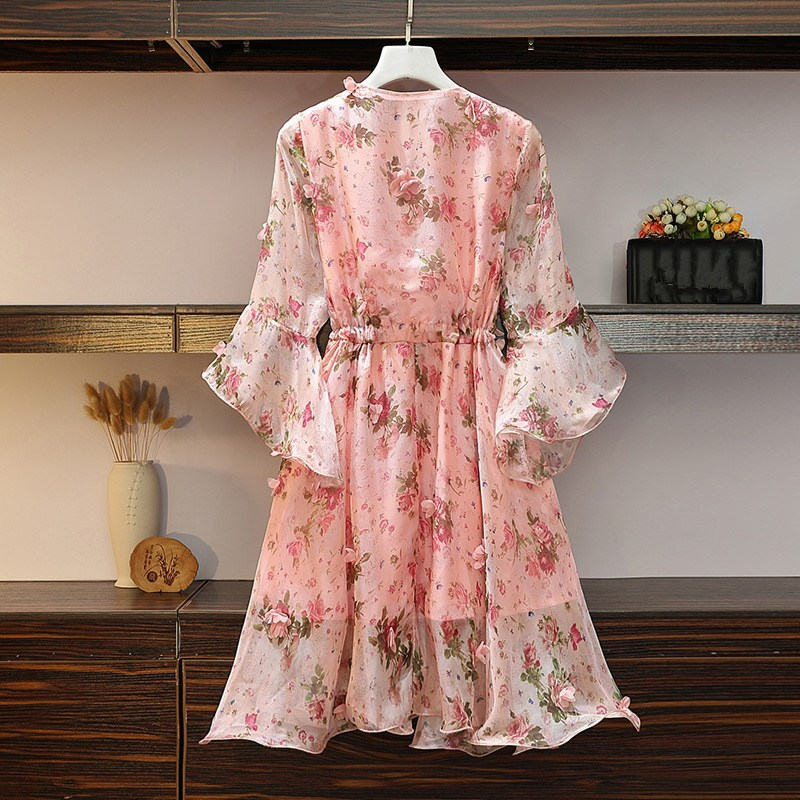 Women V-Neck Floral Appliques Chiffon Dress 2019 Summer Flare Sleeve Belt Flower Print Dress Empire Plus Size Mini Dresses 43