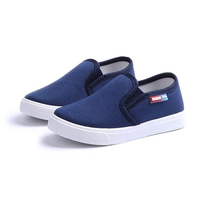 JGVIKOTO Fashion Boys Canvas Shoes Fashion Soft Breathable Kids Casual Sneakers Children Flats Loafers Solid Color Slip-on 27-38