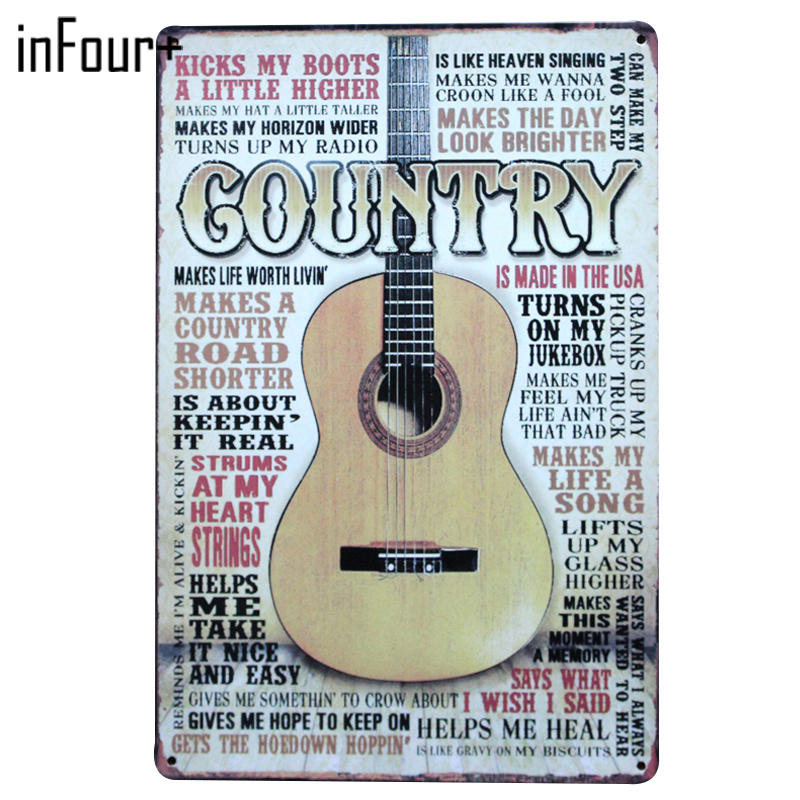 [inFour+] New Music Gountry Metal Signs Home Decor Vintage Tin Signs Pub Vintage Decorative Plates Metal Wall Art Plaques image
