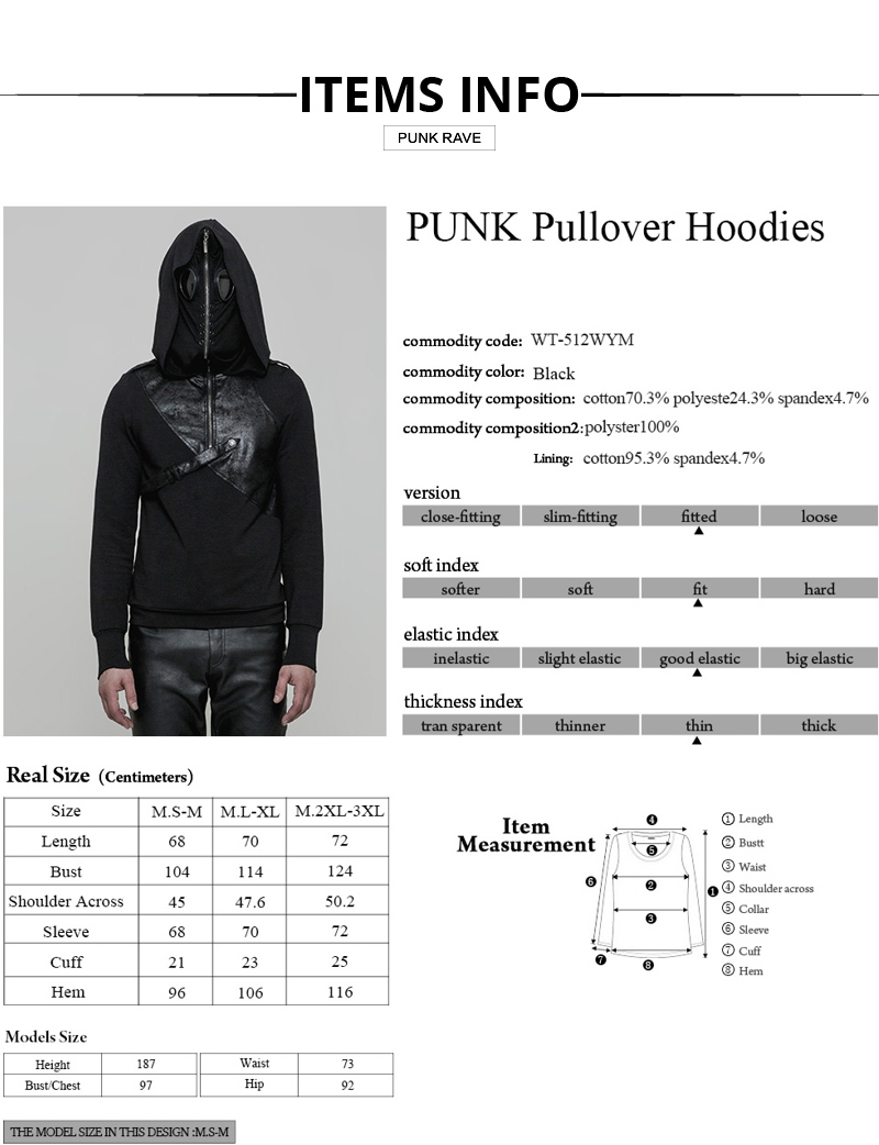 Cotton Men Hood PUNK 1