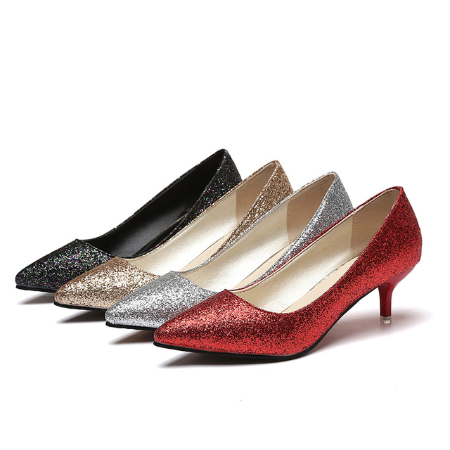 2436539a4e1 Women Wedding Shoes Silver Gold Dress Shoes Pointed Toe Woman Sequined  Cloth Med heels Shoes Glitter Pumps Boat Shoe Spring 2987