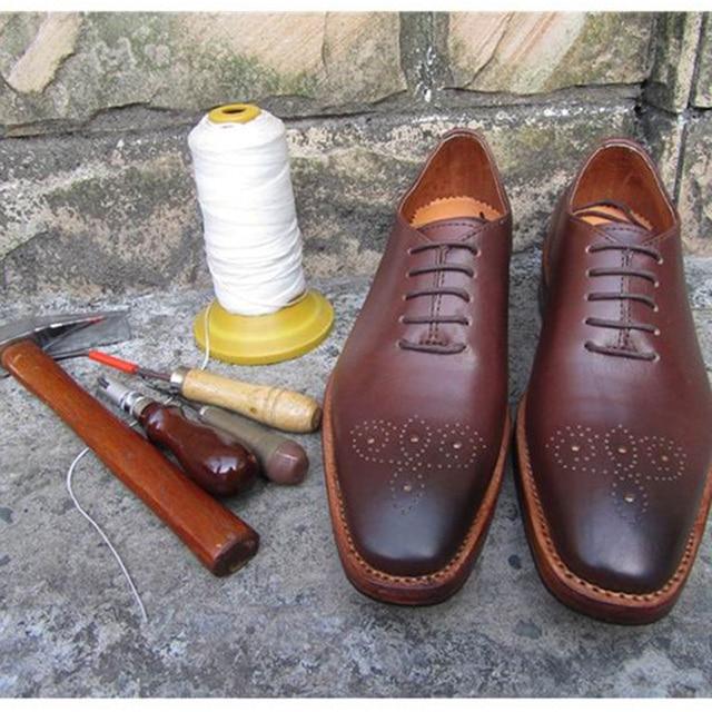 SP16-Kustom Handmade Pola Sepatu Untuk Pria Coklat Kulit Oxford Luxuriy  formal Bisnis Sepatu Flats 9f2c641eae