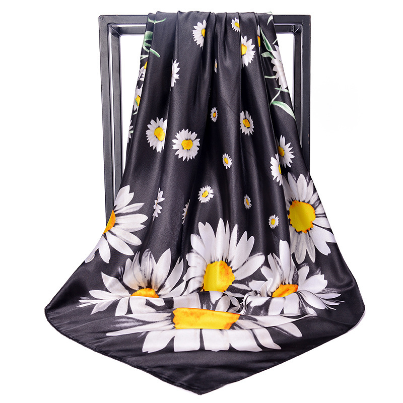 Black Beach   Scarves     Wraps   90*90cm New Daisy Twill Square Silk   Scarves   China Fashion Neck Satin   Scarves   Black,Pink Blue