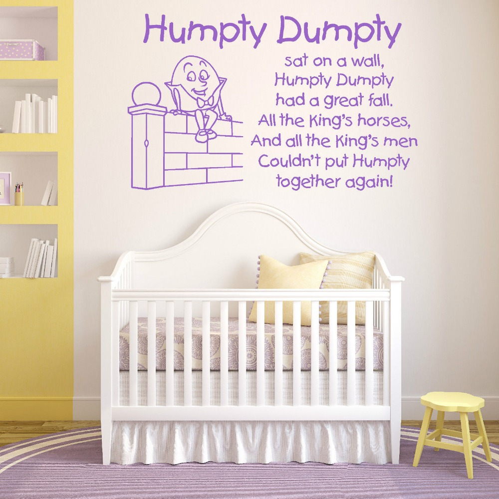 HUMPTY DUMPTY se sento EN LA PARED vinilo de pared adhesivo Kids Bedroom Wall Decal Nursery Home Decor Mural Wallpaper D476