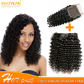 Thick Full Double Drawn 8A Unprocessed  Human Hair with Closure Deep Curly Wave Hair Weft with Closure Msbeauty Hair Products
