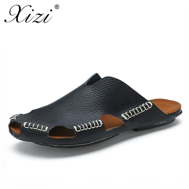7155e6b5f96 XIZI Hot Leather Men Sandals 2018 Summer Breathable Leisure Sandals Men  Outdoor Fashion Beach Men Comfortable Flat Men Shoes