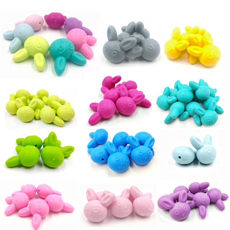 Cute Rabbit Silicone Teething Beads Baby Chewable Jewelry DIY Teether Making