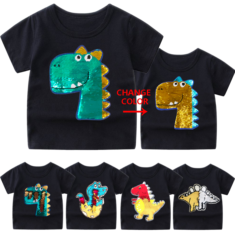 Baby Boys T Shirt Cotton Tops Tees For Boy Cartoon Sequin Dinosaur Kids Outwear children title=