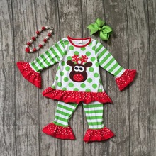 baby girls Christmas outfits baby rudolph top with green stripes ruffle pants polka dot top Christmas clothing with accessories
