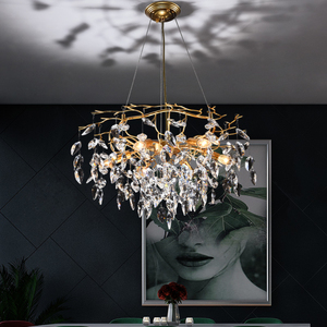 Image 5 - נברשת זוהר קריסטל מנורת זהב סניף מנורת lamparas modernas salones מלון grandes מודרני led נברשת