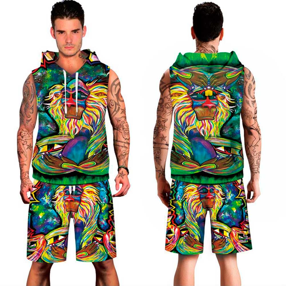 2018 MIDUO 3D monkey Chief Digital printed Beachwear spring summer hoody Men Vest short Sleeveless Suit Clothing Set plus size