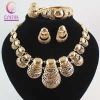 Venta caliente África Dubai color oro moda boda joyería conjuntos collar pendiente anillo graduación fiesta joyería conjuntos