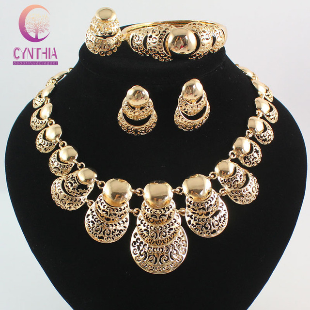 Hot Sale Africa Dubai  gold plated Fashion Wedding Jewelry Sets necklace Bangle Earring Ring Prom party Jewelry Sets