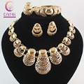Venda quente África Dubai banhado a ouro Jóias de Casamento Moda Define colar Pulseira Anel Brinco Conjuntos de Jóias Prom party
