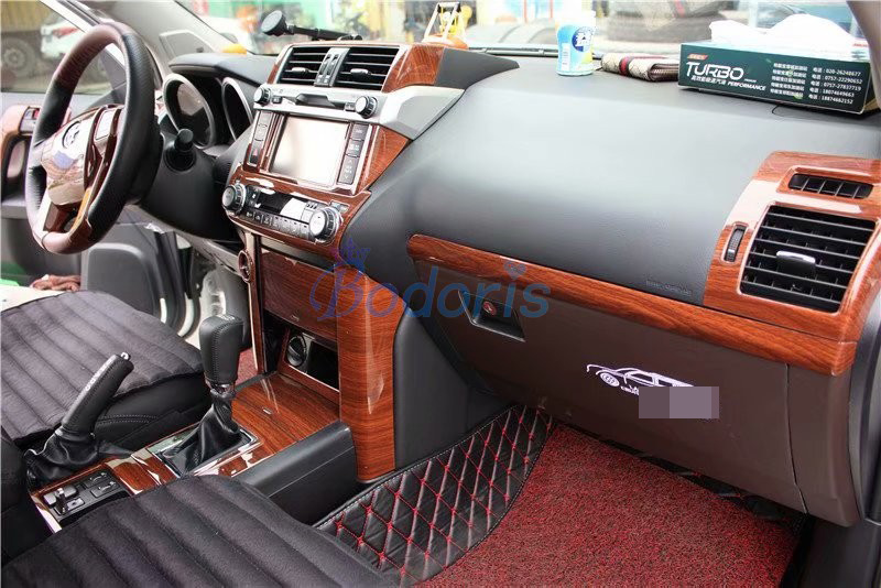 For Toyota Land Cruiser 150 Prado LC150 FJ150 2010 2011 2012 2013 2014 2015 2016 2017 Wooden Color Trim Panel Car Accessories in Chromium Styling from Automobiles Motorcycles