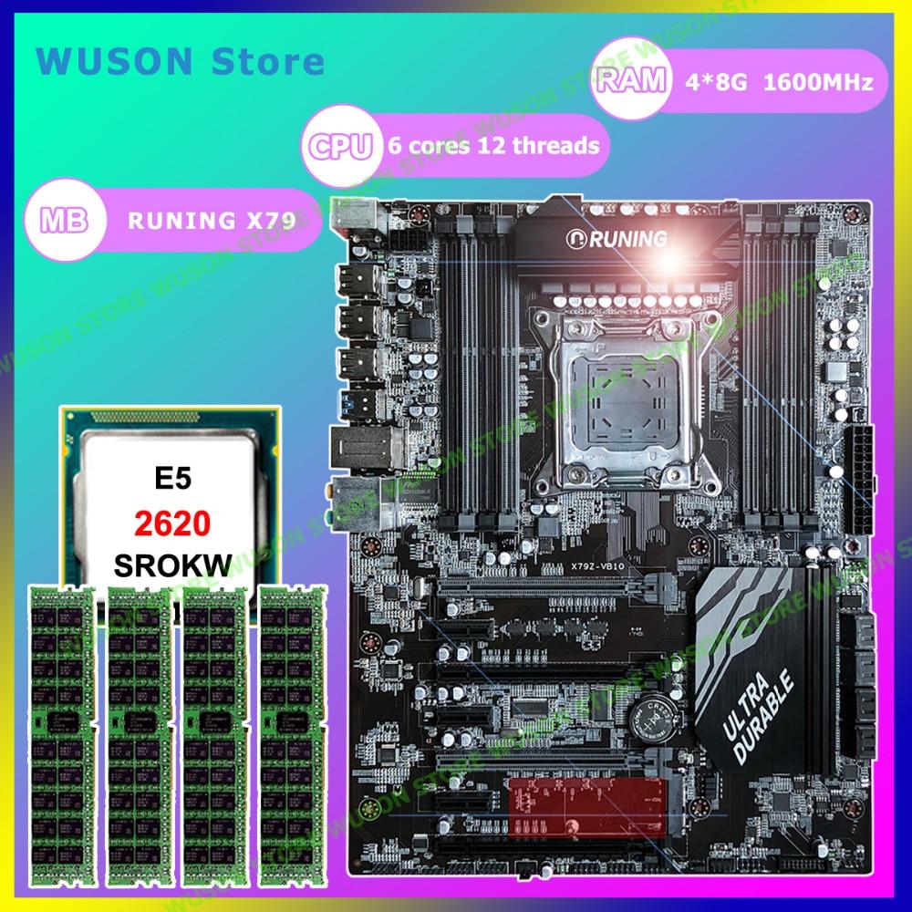 Best choice computer DIY brand Runing Super ATX X79 motherboard Intel Xeon  E5 2620 SROKW 2 0GHz RAM 32G(4*8G) 1600MHz DDR3 RECC