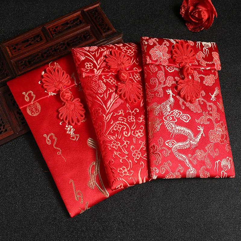 Red envelopes High Grade Embroidery Exquisite Brocade silk Thousand Dollars busta rossa New Year Joyful Red Pocket for Children