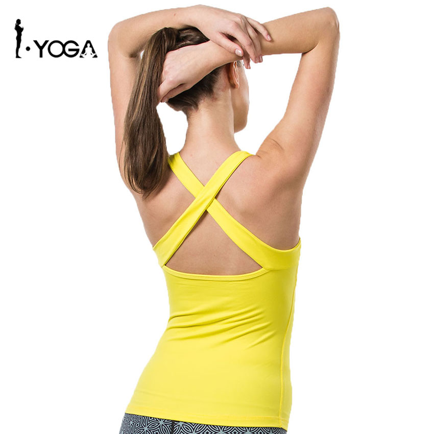Fitness Yoga Women Cross U Neck Quick Dry Breathable Walking Training Nylon Elastic Sleeveless Padded Tank Vest Tops 15003