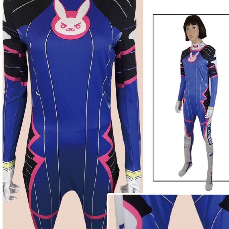 d.va dva d va costume cosplay suit bodysuit clothes wig clothing halloween jumpsuit Women Girl ...