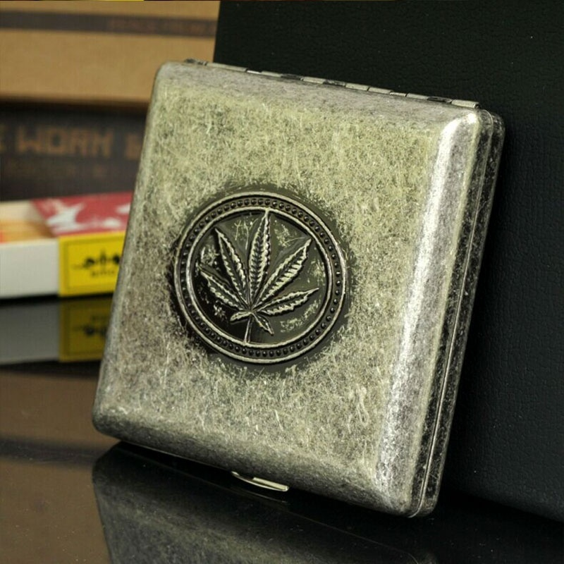Portable Marijuana Pocket Tobacco Metal Copper Maple Leaf Cigarette Case for 20 Cigarettes Storage Box Holder