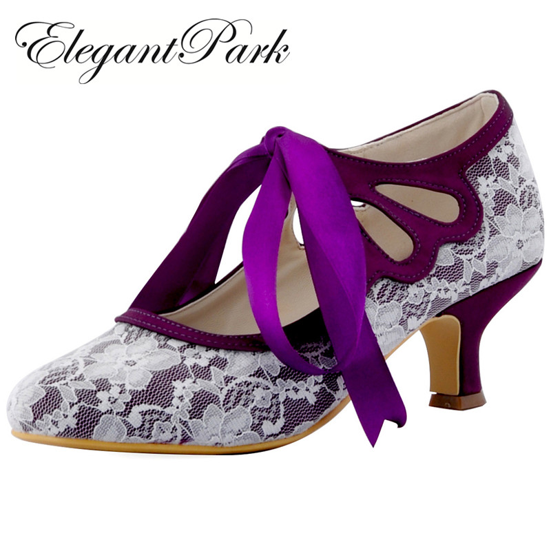 Woman Shoes Wedding Bridal Mid Heel Purple Black Mary Jane Lace Up Close Toe Lace Bride Bridesmaid Lady Party Prom Pumps  HC1521 hp1522 woman white ivory peep toe mary jane lace lady prom party pumps mid heel ribbontie bride bridesmaid wedding bridal shoes