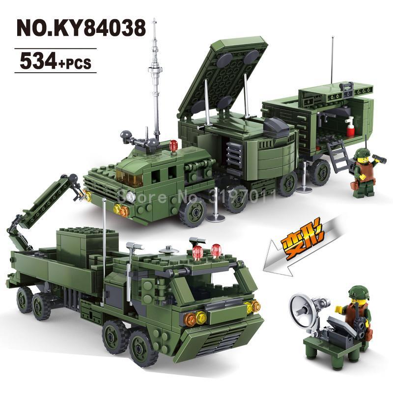 KAZI Irradiation Radar Car Toys Field Army Series Action Figure Block Building Bricks Set Model 2017 Children DIY Toys Lepin