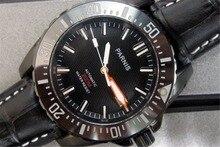 43 мм Парнис Сапфировое Стекло Керамические Вращающийся Ободок Автоматические Часы мужские Наручные Часы
