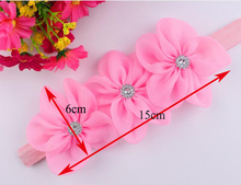 New Ribbon Pearl Hairband Newborn Hair bands 3 Flowers Headband Kids Hair Accessories for Girls