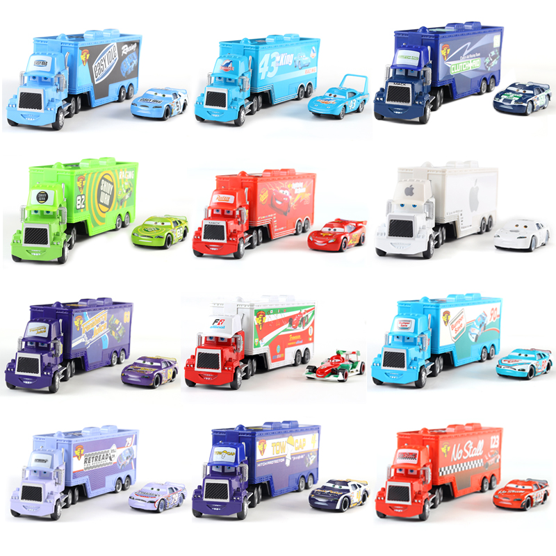 Disney Pixar Car Truck Kingdom No. 43 Car King Truck Combination 1:55 Die Casting Metal Alloy Model Toy Car Children's Gifts