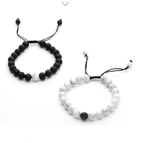 55f4e3bc3d59e Distance Bracelet Couples Adjustable Beaded Bracelet with Howlite, Lava  Stone Friendship Relationship His-and-Hers Essential oil