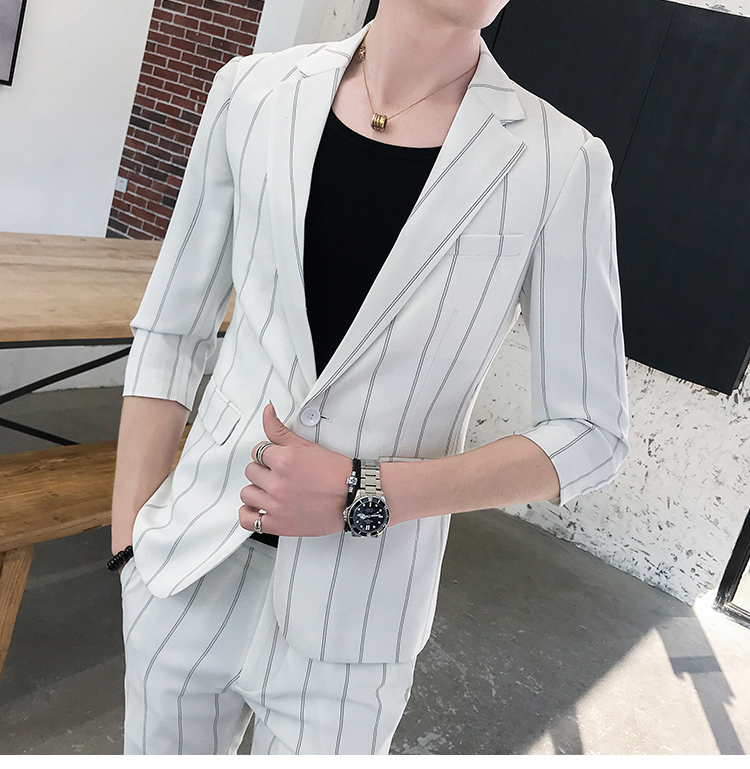 HTB1K zXRwTqK1RjSZPhq6xfOFXak custom Small Size Men's Wear Summer 2019 New Men's Middle Sleeve Suit Stripe Two piece Fashion Japanese Slim Suit