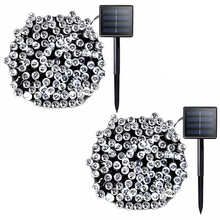 2 Pack Christmas String Fairy Lights Solar Outdoor Waterproof LED Powered Lamp for Garden Decoration Wedding Party
