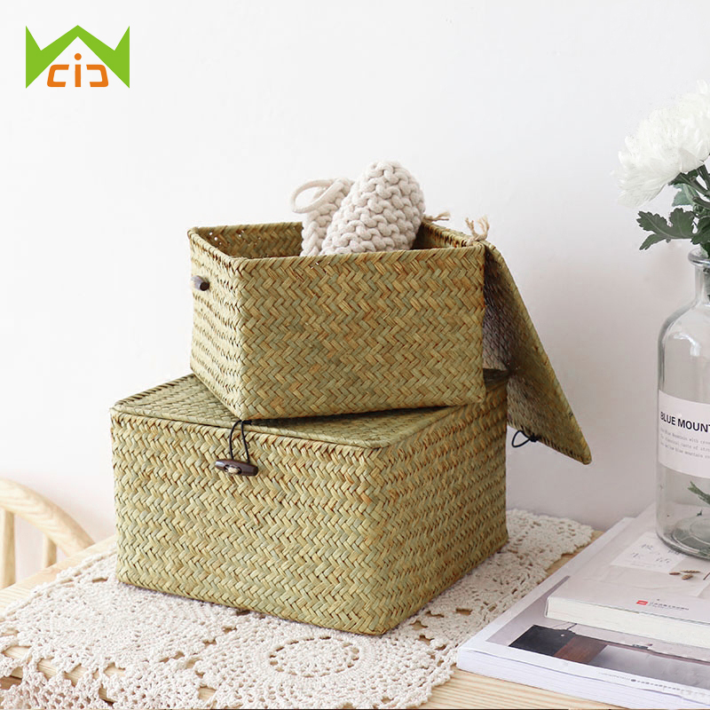 WCIC Handmade Cosmetic Storage Box Storage Basket Debris Basket Seagrass Woven Square Desktop Storage Boxes with Cover