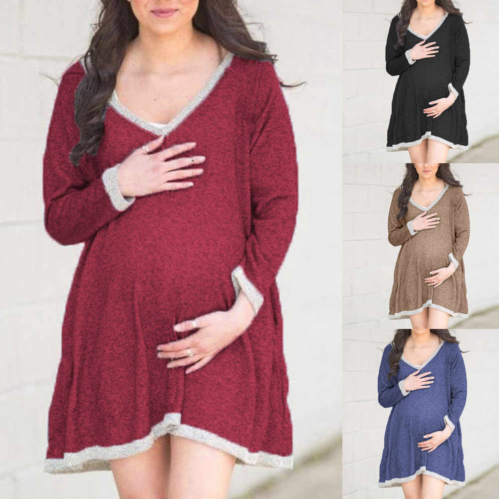 f758872bff8 Maternity Layered Nursing Dress Women Casual Long Sleeve V-Neck Evening  Party Dresses For Pregnant