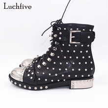 2017 Punk style Boots women rivets studded leather Ankle Boots Round toe side lace up Strap buckled martin short boots