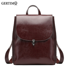 Women 100 %Genuine Leather Backpacks Ladies Casual Vintage Cowhide Travel Black Brown Backpack Real Bagpack School Bags