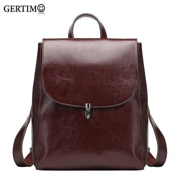 Women 100 %Genuine Leather Backpacks Ladies Casual Vintage Cowhide Travel Black Brown Backpack Real Cowhide Bagpack School Bags