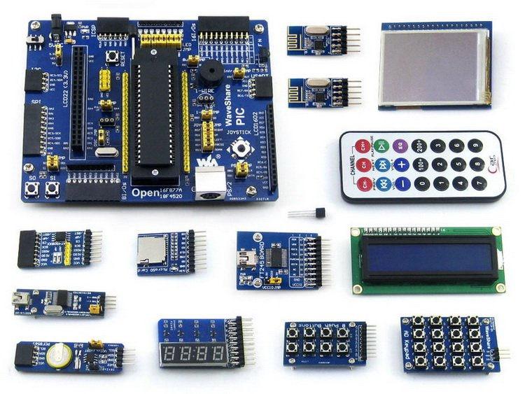 Parts PIC Development Board PIC16F877A PIC16F877A-I/P 8-bit RISC PIC Development Board +14 Accessory Module Kits=Open16F877A Pac w5500 development board the ethernet module ethernet development board