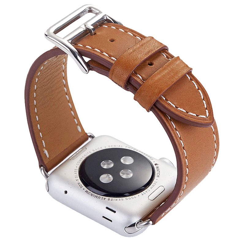 FOHUAS-Series-2-1-Genuine-Leather-Loop-For-Apple-Watch-Band-Double-Tour-42mm-For-Apple (2)