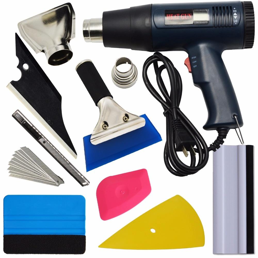 EHDIS 8pcs Vinyl Film Car Wrap Tools kit 1800W Hot Air Heat Gun Squeegee Ice Scraper Knife Blade Window Tints Tool Car Sticker